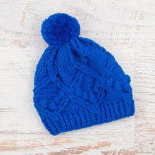 Load image into Gallery viewer, In-Stock 3-5 Year Pretty Little Pom Pom Toque in Electric Blue
