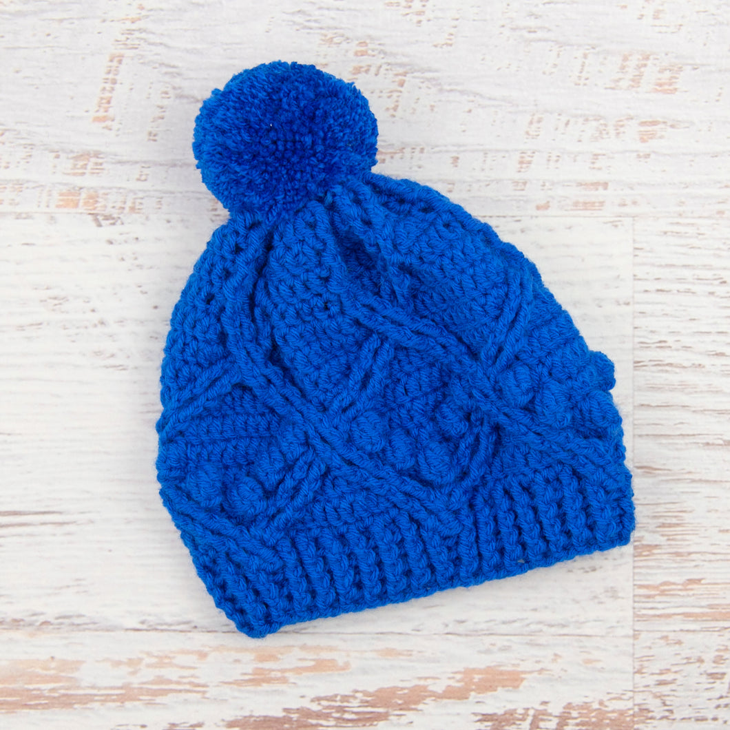 In-Stock 3-5 Year Pretty Little Pom Pom Toque in Electric Blue