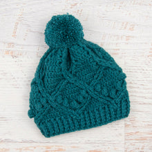 Load image into Gallery viewer, In-Stock 3-5 Year Pretty Little Pom Pom Toque in Peacock
