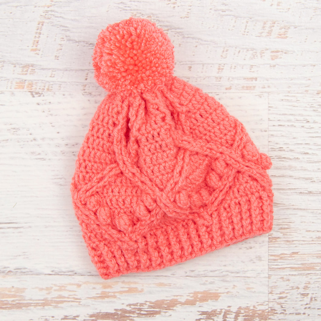 In-Stock 3-5 Year Pretty Little Pom Pom Toque in Pink Grapefruit