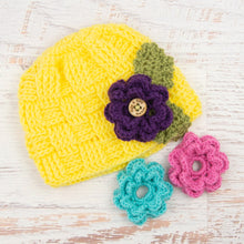 Load image into Gallery viewer, In-Stock 5-10 Year Waffle Beanie in Lemon Yellow with 3 Interchangeable Flowers