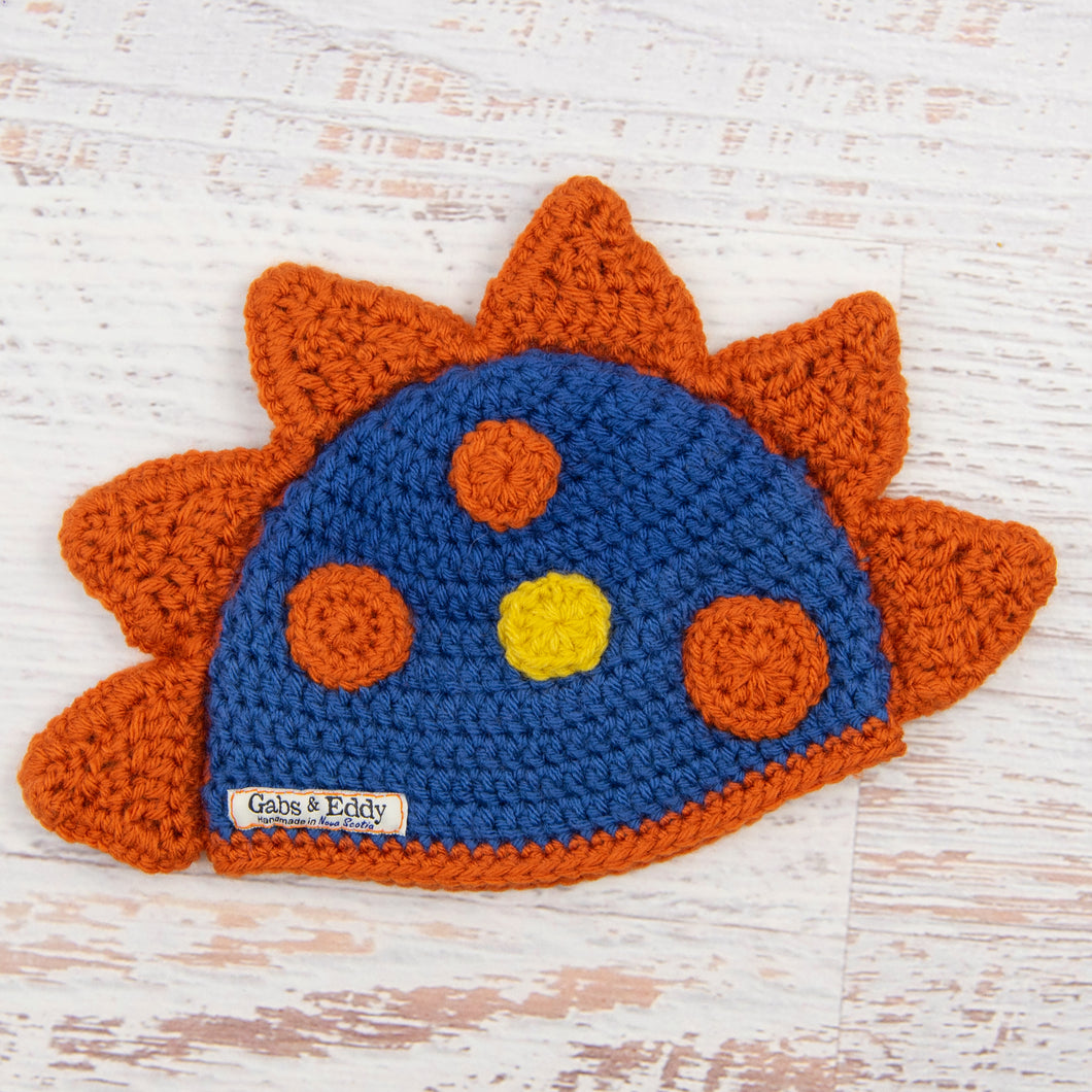 In-Stock 6-12 Month Dinosaur Hat in Colonial Blue with Orange Spikes & Spots