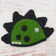 Load image into Gallery viewer, In-Stock 6-12 Month Dinosaur Hat in Kelly Green with Dark Grey Heather Spikes & Spots