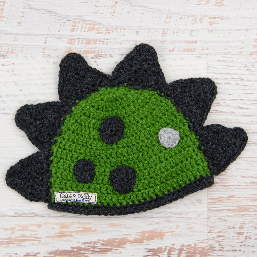 In-Stock 6-12 Month Dinosaur Hat in Kelly Green with Dark Grey Heather Spikes & Spots