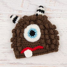 Load image into Gallery viewer, In-Stock 6-12 Month Little Monster in Chocolate with Baby Aqua Eye.