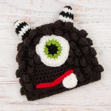 Load image into Gallery viewer, In-Stock 6-12 Month Little Monster in Expresso with Fern Eye.
