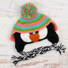 Load image into Gallery viewer, In-Stock 6-12 Month Penguin Hat in Aqua Marine, Fern and Pink Grapefruit