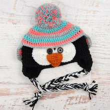 Load image into Gallery viewer, In-Stock 6-12 Month Penguin Hat in Aqua Marine, Pink Grapefruit and Silver Heather
