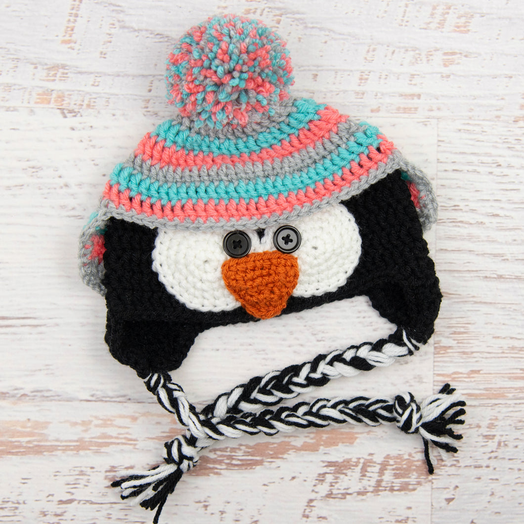 In-Stock 6-12 Month Penguin Hat in Aqua Marine, Pink Grapefruit and Silver Heather