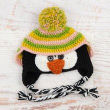 Load image into Gallery viewer, In-Stock 6-12 Month Penguin Hat in Fern, Mustard and Pink