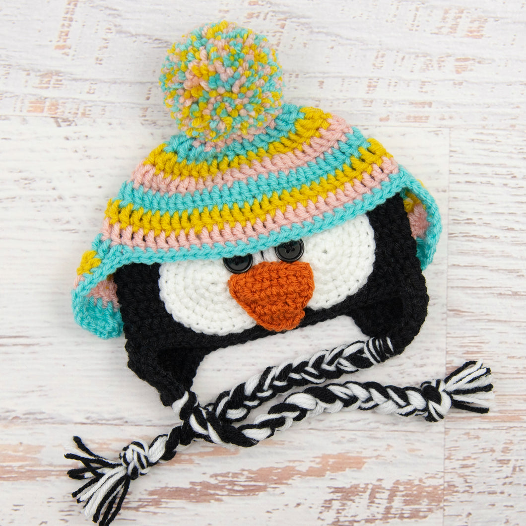 In-Stock 6-12 Month Penguin Hat in Mustard, Pink and Aqua Marine