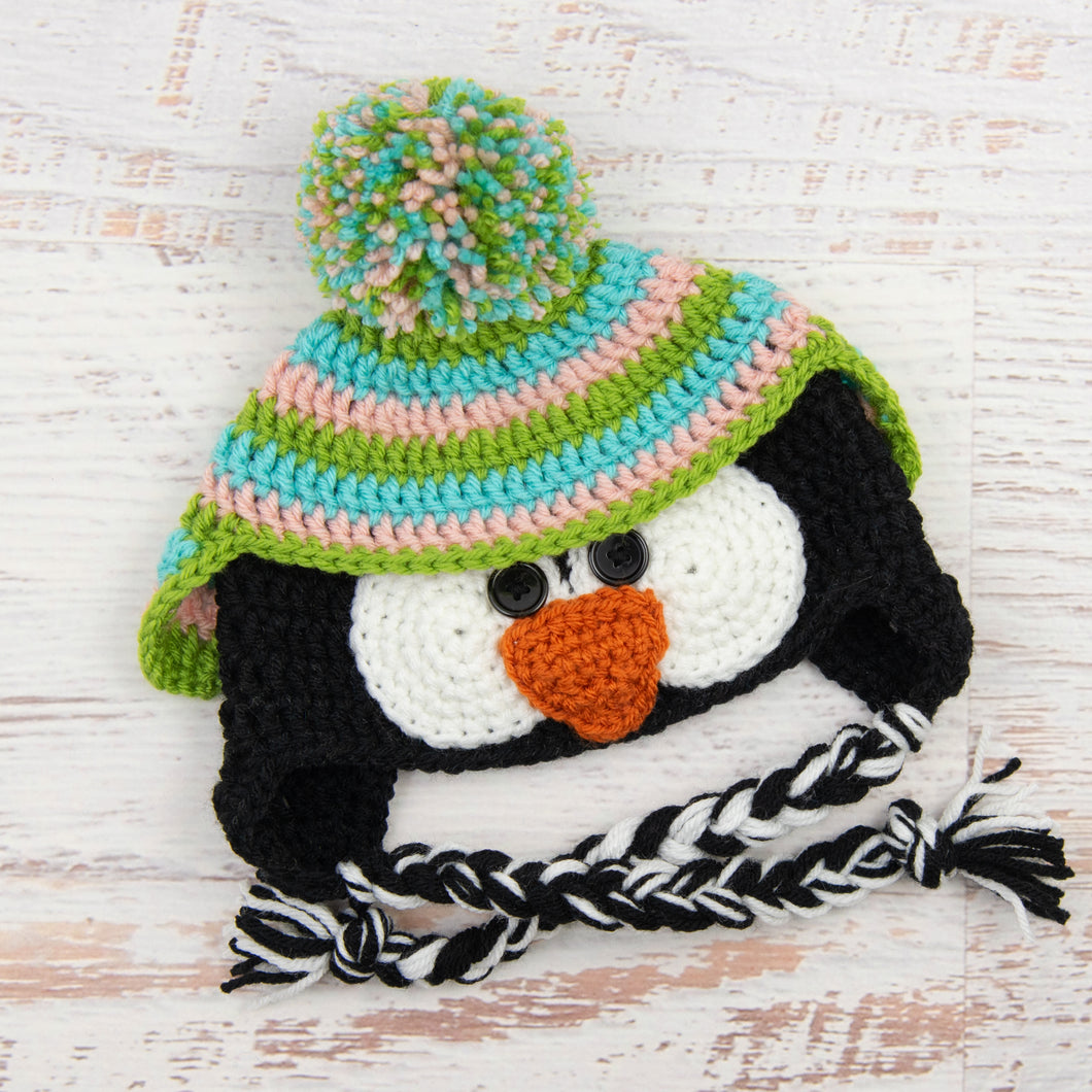 In-Stock 6-12 Month Penguin Hat in Aqua Marine, Pink and Fern