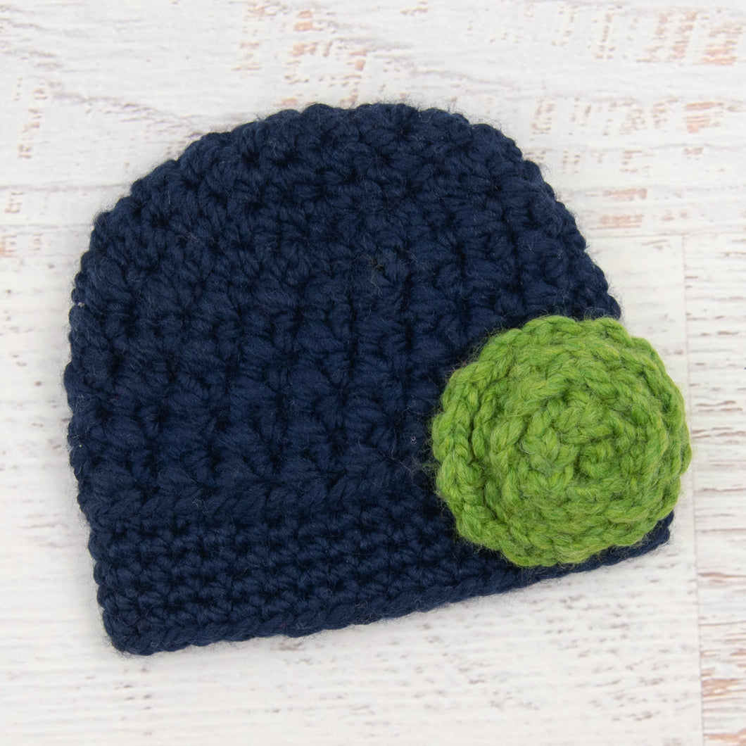 In-Stock 6-12 Month Little Rolled Rose Beanie in Navy with Navy Flower