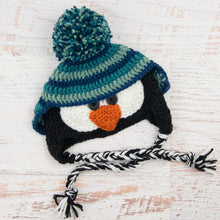 Load image into Gallery viewer, In-Stock 6-12 Month Penguin Hat in Peacock, Sage & Midnight Blue