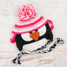 Load image into Gallery viewer, In-Stock 6-12 Month Penguin Hat in Pink, White & Rose Shocking