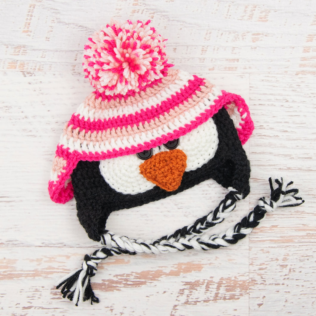 In-Stock 6-12 Month Penguin Hat in Pink, White & Rose Shocking