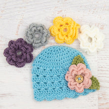 Load image into Gallery viewer, In-Stock Newborn Children's Scalloped Edge Beanie with 5 Flowers (Baby Aqua)