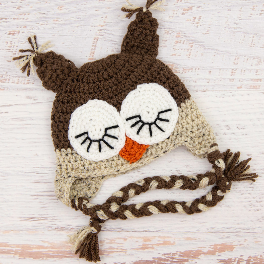 In-Stock 6-12 Month Sleepy Owl in Chocolate & Oatmeal
