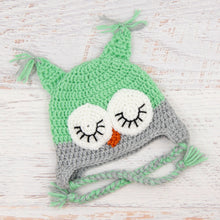 Load image into Gallery viewer, In-Stock 6-12 Month Sleepy Owl in Mint with Silver Heather