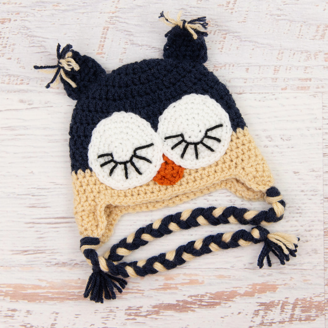 In-Stock 6-12 Month Sleepy Owl in Navy & Beige