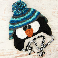 Load image into Gallery viewer, In-Stock 3-10 Year Penguin Hat in Aqua Marine, Sapphire and Charcoal