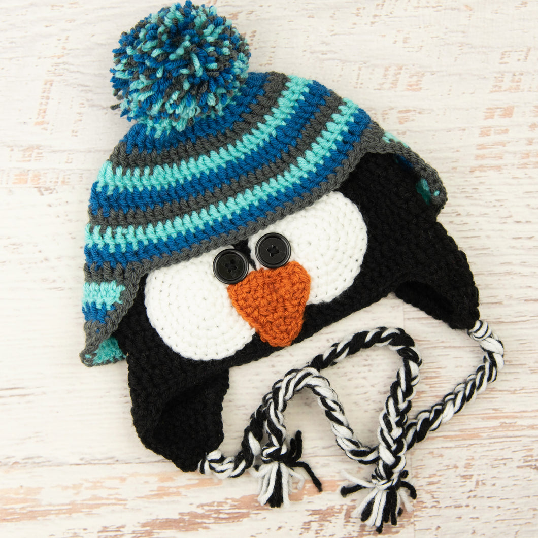 In-Stock 3-10 Year Penguin Hat in Aqua Marine, Sapphire and Charcoal