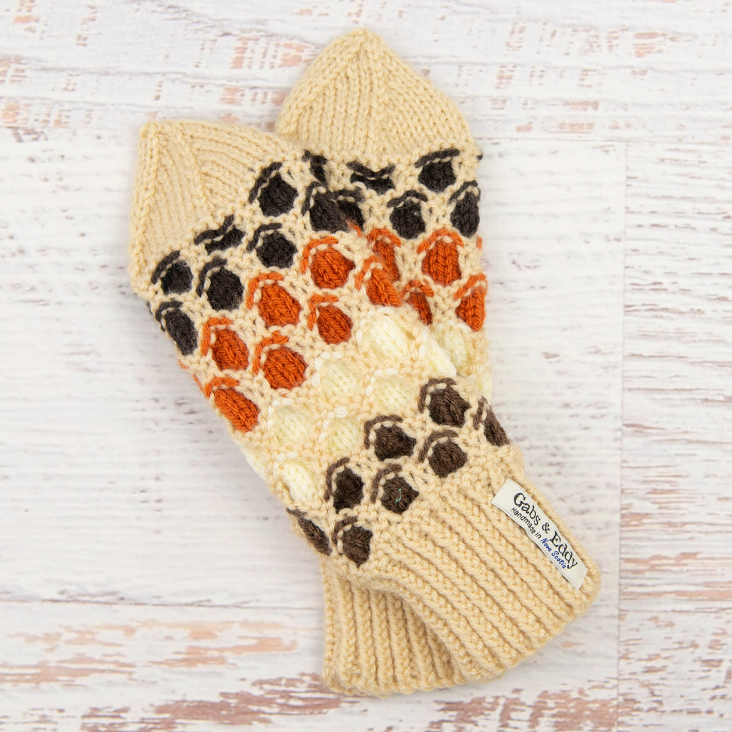 In-Stock Adult Mittens in Beige with Chocolate, Lamb, Orange & Expresso