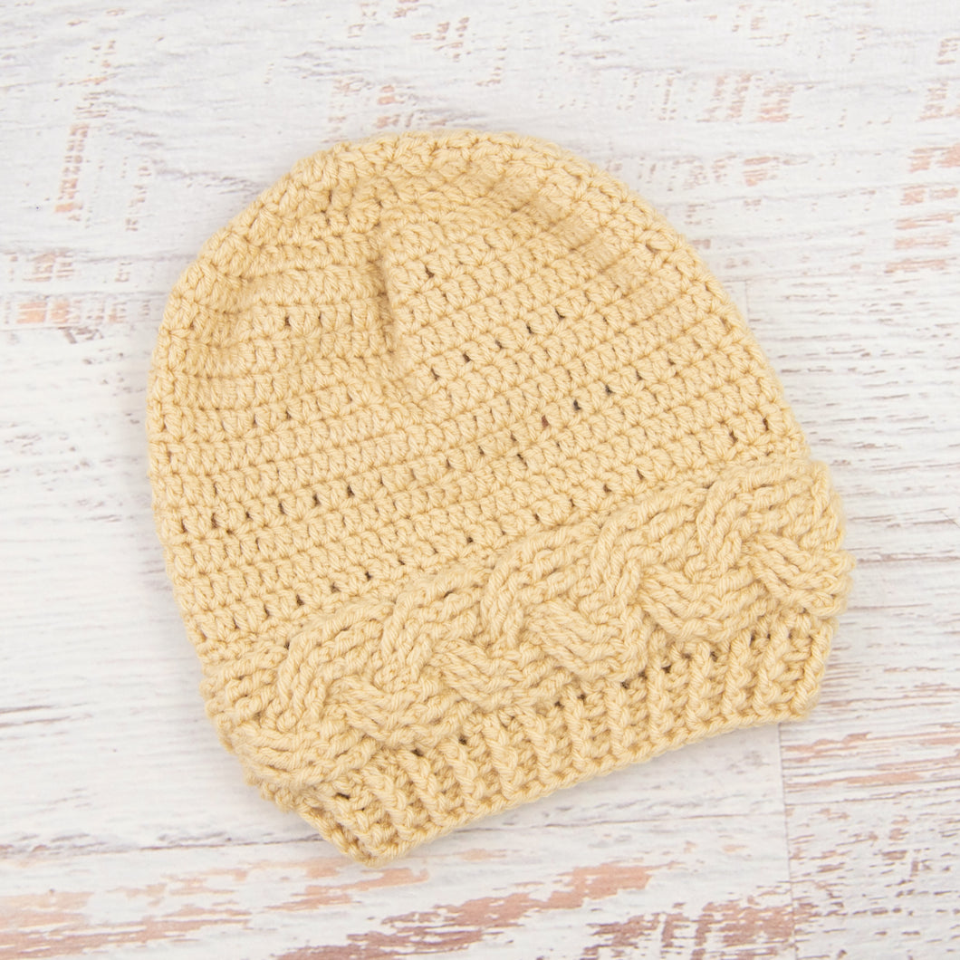 In-Stock Cabled Slouchy Toque in Beige