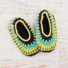 Load image into Gallery viewer, Children's Size 12/13 Slippers in Navy, Duckie Yellow & Aqua Marine