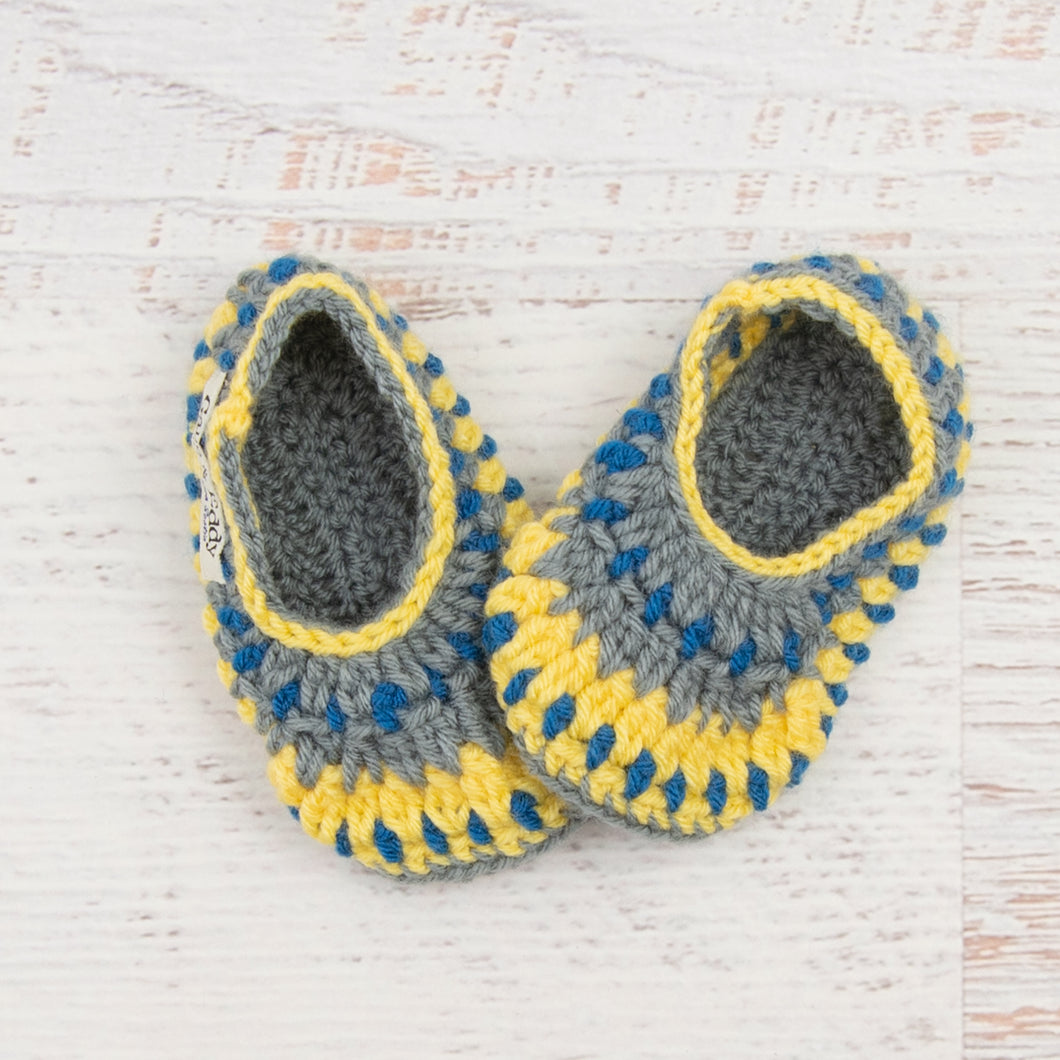 Children's Size 8/9 Slippers in Sapphire, Duckie Yellow and Silver Grey