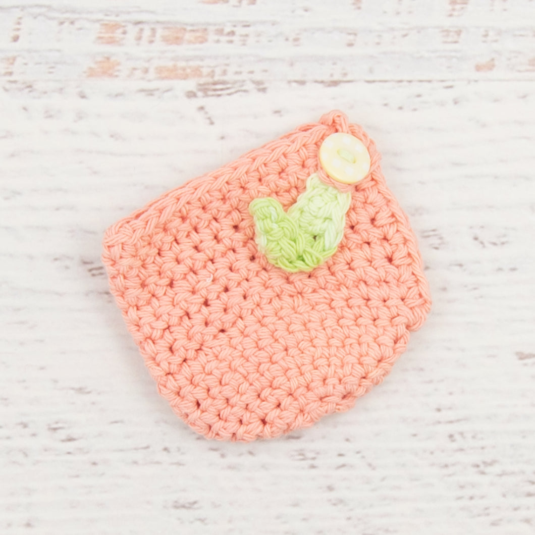 Cotton Apple Cozy in Pink with Light Yellow Button Detail