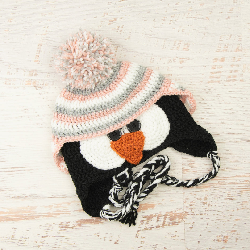 In-Stock 3-10 Year Penguin Hat in White, Silver Heather and Pink