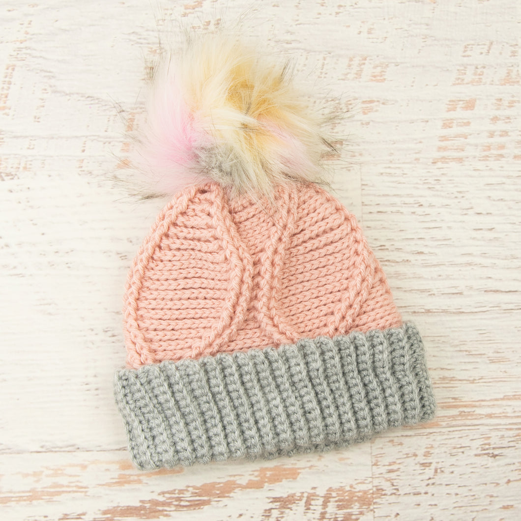 In-Stock 3-10 Year Gabby Girl Toque in Pink with Silver Heather and Neapolitan Faux Fur Pom
