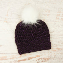 Load image into Gallery viewer, In-Stock Faux Fur Two Tone Toque in Sparkly Purple with White Pom