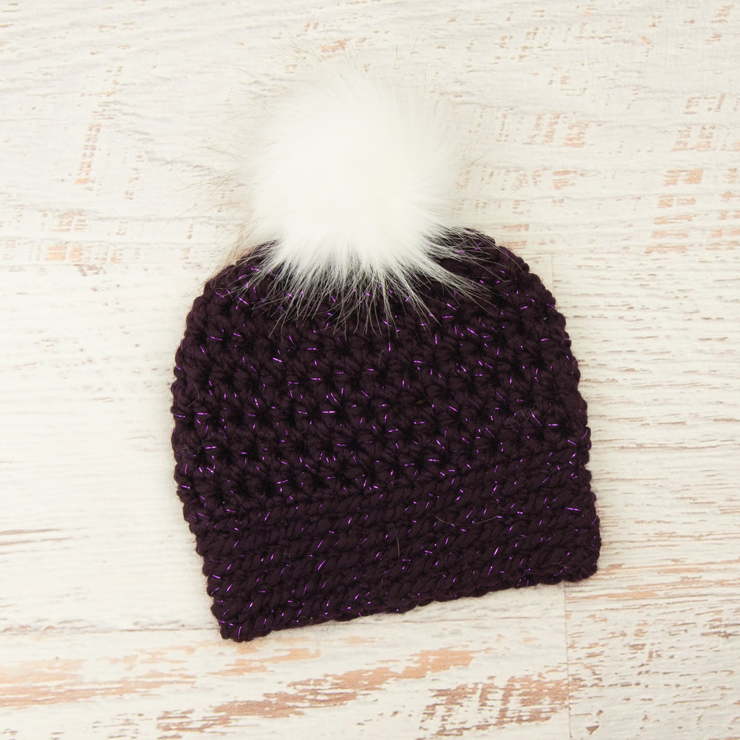 In-Stock Faux Fur Two Tone Toque in Sparkly Purple with White Pom