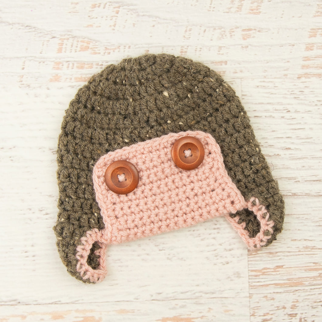 In-Stock 6-12 Month Aviator Hat in Barley with Pink