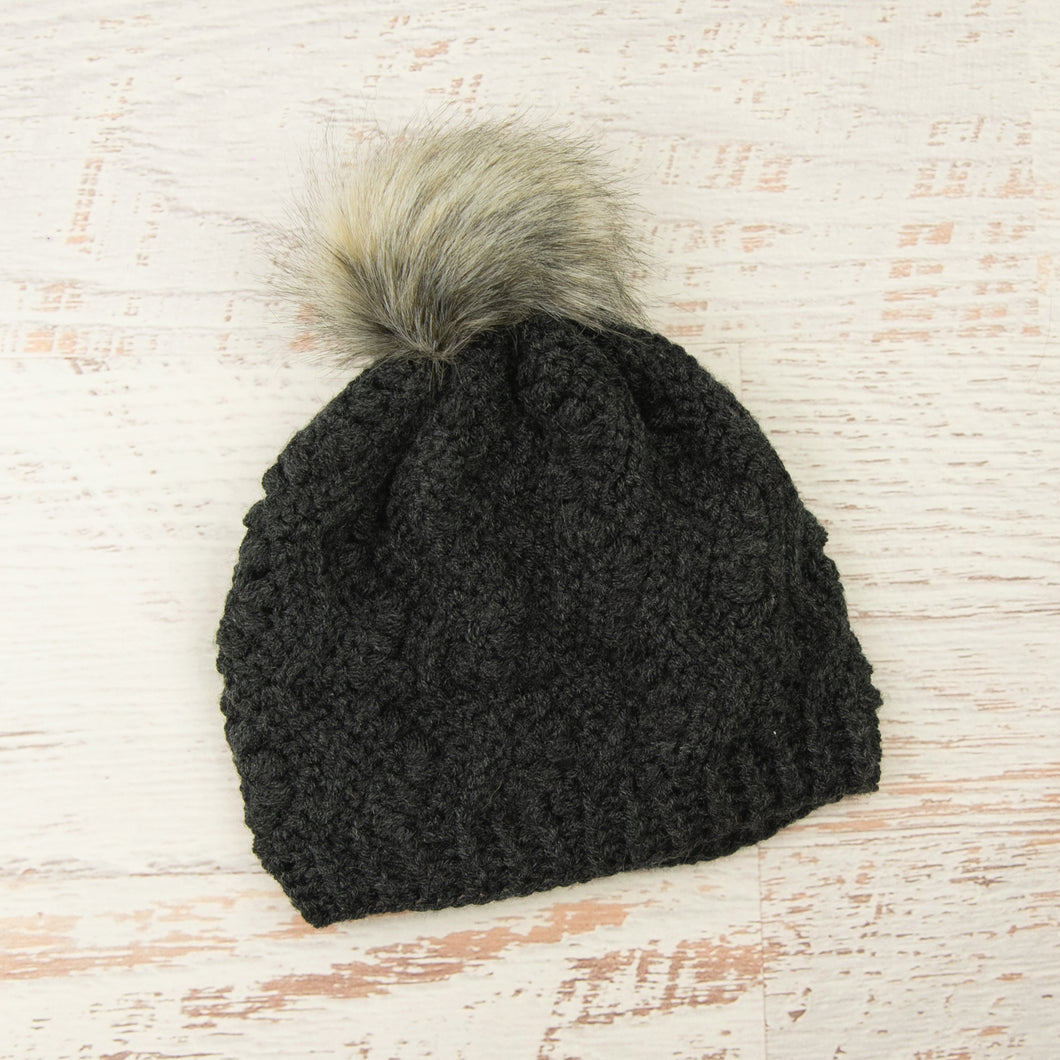 In-Stock Faux Fur Pom Pom Toque in Dark Grey Heather with Smoke Faux Fur Pom