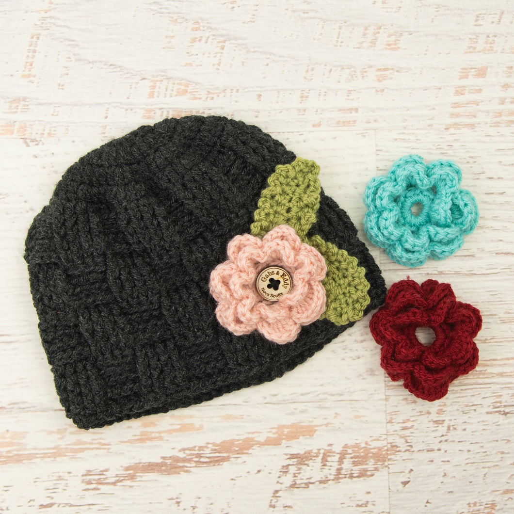 In-Stock 3-10 Year Waffle Beanie in Dark Grey Heather with 3 Interchangeable Flowers