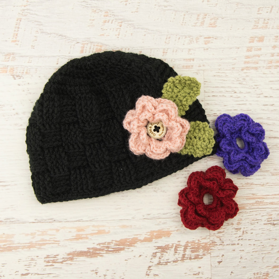 In-Stock Waffle Beanie with 3 Interchangeable Flowers in Black