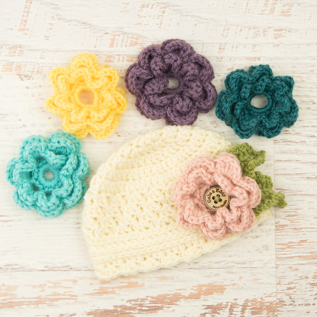 In-Stock 0-6 Month 5 Flower Beanie with 5 Interchangeable Flowers in Fisherman