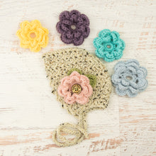 Load image into Gallery viewer, In-Stock 0-6 Month Bonnet with 5 Flowers in Oatmeal