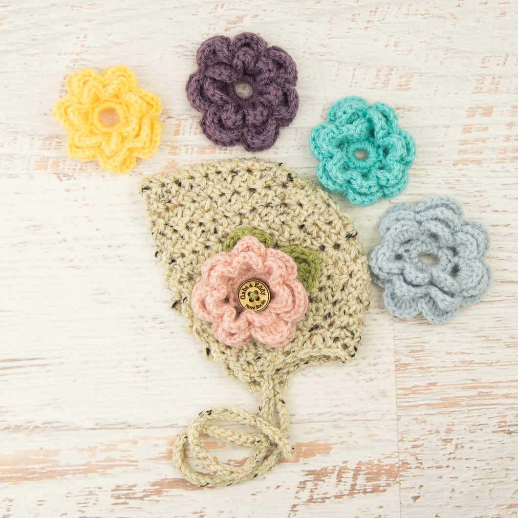 In-Stock 0-6 Month Bonnet with 5 Flowers in Oatmeal