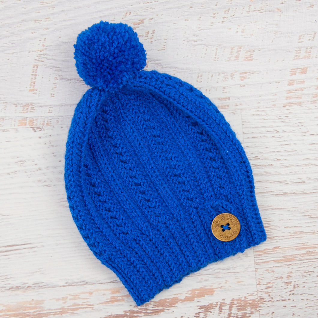 In-Stock Slouchy Button Toque in Electric Blue