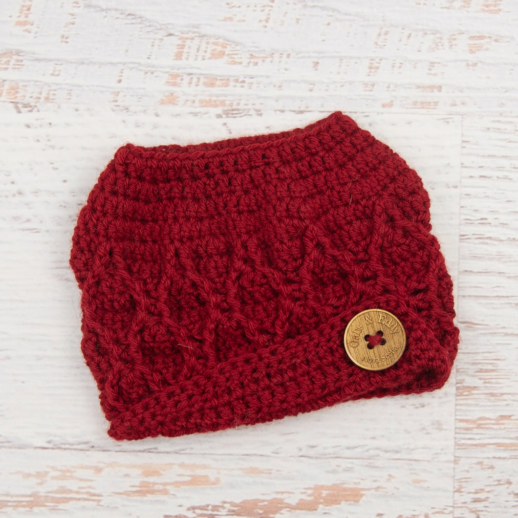 In-Stock 3-10 Year The 'Dressy' Messy Bun Hat in Cranberry