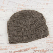 Load image into Gallery viewer, In-Stock Unisex Waffle Beanie in 100% Wool in Brown Heather