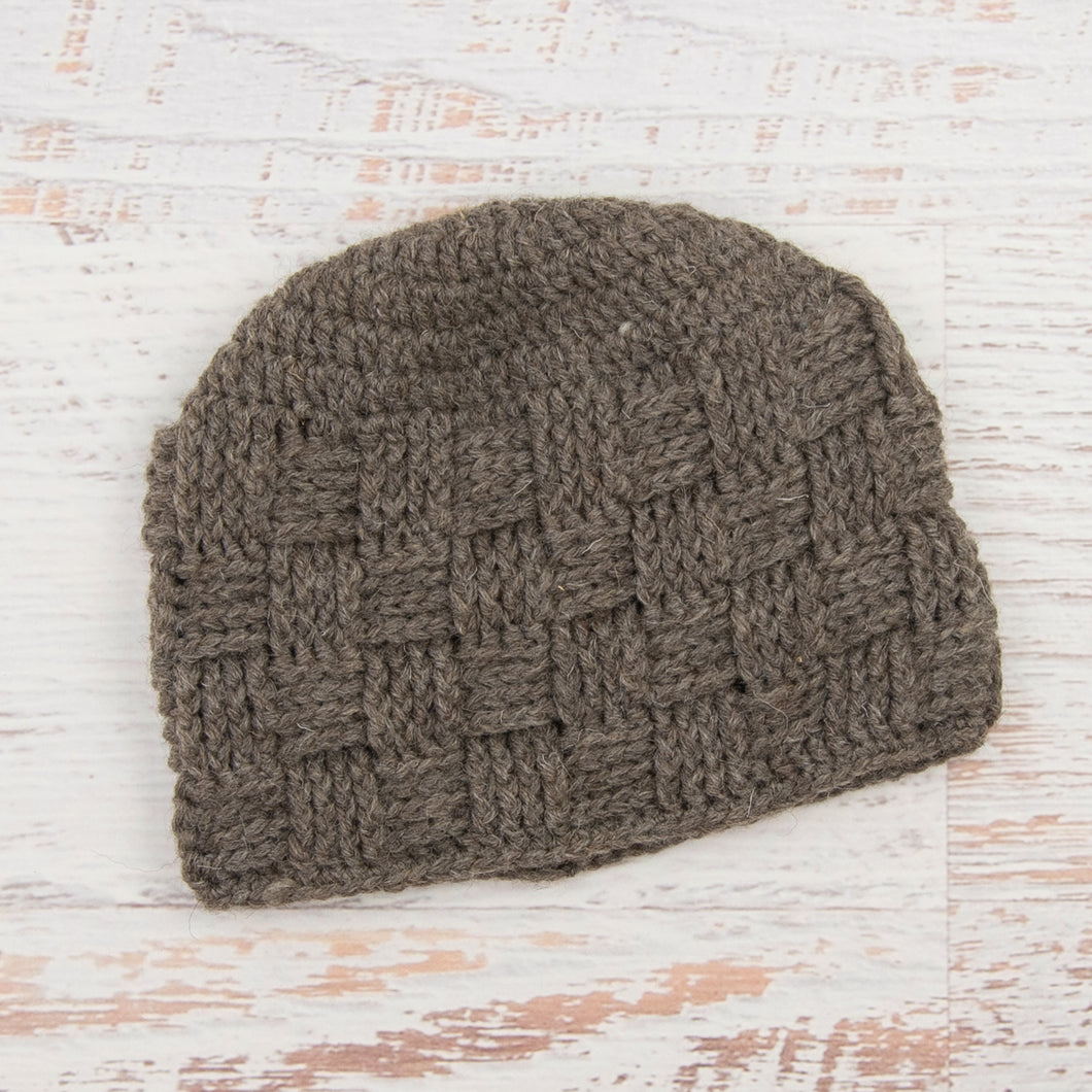 In-Stock Unisex Waffle Beanie in 100% Wool in Brown Heather
