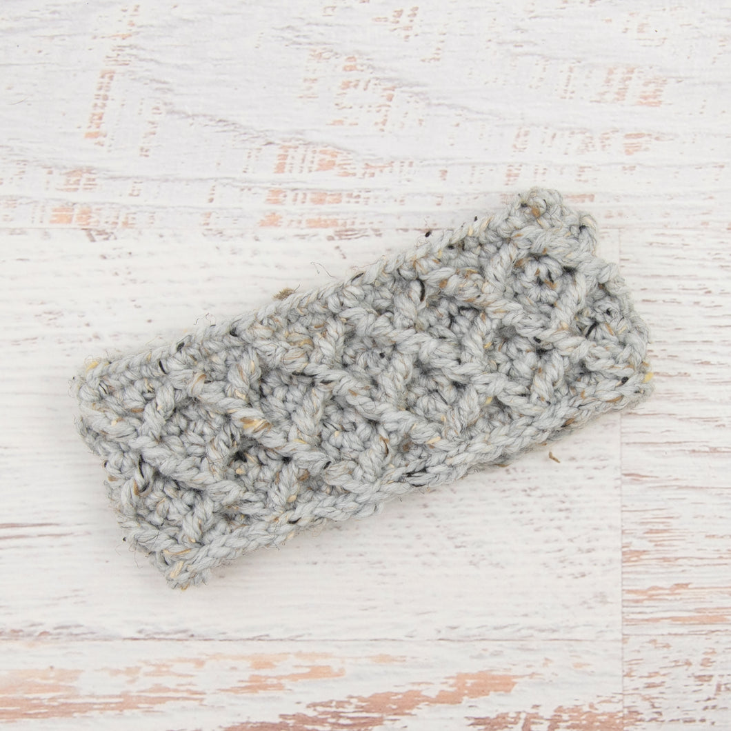 In-Stock Diamond Cable Headband in Grey Marble