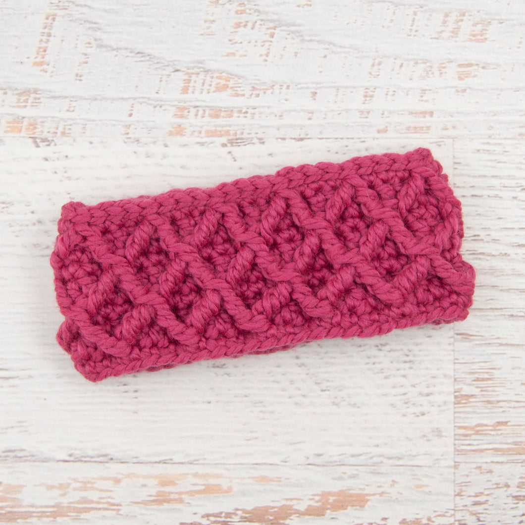 In-Stock Diamond Cable Headband in Raspberry