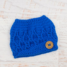 Load image into Gallery viewer, In-Stock 3-10 Year The 'Dressy' Messy Bun Hat in Electric Blue
