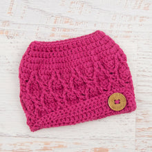 Load image into Gallery viewer, In-Stock 3-10 Year The 'Dressy' Messy Bun Hat in Raspberry